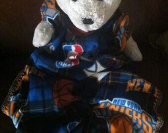 New York Knicks Plaid Basketball Fleece Sports Baby Blanket