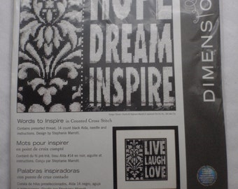 """New Dimensions  """"Words to Inspire"""" Counted Cross Stitch Kit"""