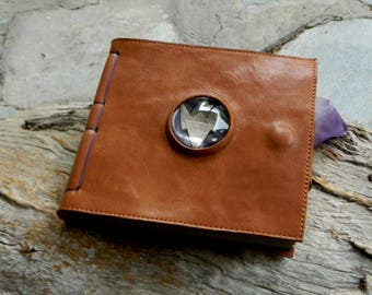 Leather Journal with Magnified Paper Crane Blank Page Travelers Notebook Recycled Leather Journal by Ariom Designs
