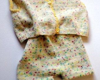 Baby suit, pants, vest, Merino, wool, multi colored, girl