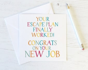 Funny New Job Card - funny leaving card - card for friend - funny office workmate card - office leaving card - goodbye card - funny card