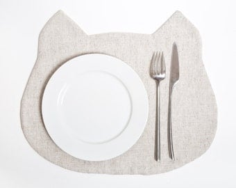 White Placemat, Cat Linen Placemat, White Kitchen Decor, Table Linens, Cat Table Mats, White Cat, Housewarming Gifts, New Mom Gift