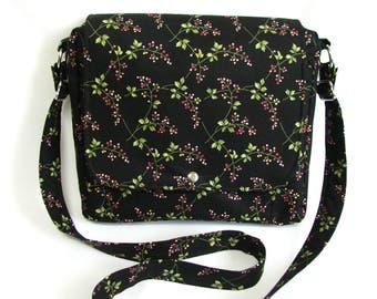 Large messenger bag- Wild rosewood print cotton