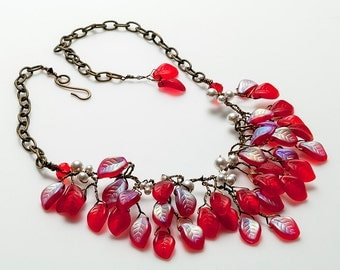 Red Bib Necklace, Floral Necklace,  Red and White Vintage Style Statement Necklace, Red Leaf Necklace, Holiday Jewelry