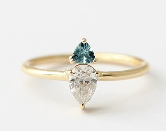 Pear Diamond Ring, Trillion Teal Sapphire Engagenent Ring, Sapphire Ring Gold, Diamond & Sapphire Engagement Ring, Triangle Sapphire Ring