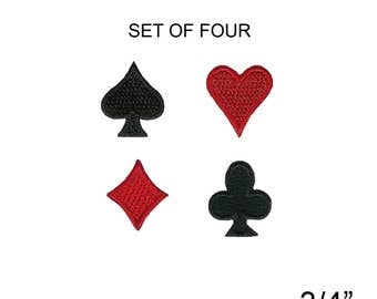 Larger Card Suits Set Poker Heart Spade Diamond Club Iron On Applique Patches