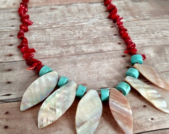 Statement necklace - abalone shell necklace - blue necklace - red coral necklace - handmade necklace - beach theme jewelry - gifts for her