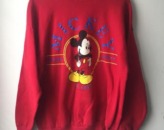 Vintage Mickey Mouse Sweatshirt Red Disney 90s 1990s Adult Size XL