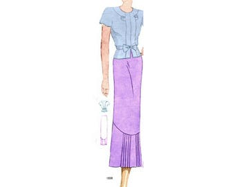 Plus Size Pattern (or any size) Vintage 1934 Blouse and Skirt - PDF - Pattern No 1551 1559 Marylou Instant Download