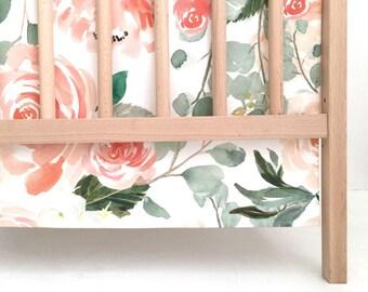 Crib Skirt Peaches and Cream. Baby Bedding. Crib Bedding. Crib Skirt Girl. Baby Girl Nursery. Floral Crib Skirt. Coral Crib Skirt.