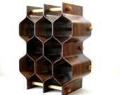 "MCM Rosewood Wine Rack Honeycomb 21""h Bentwood 8 Bottle T Johansson Sweden c1960 Minimalist Mid Century Danish Modern Wine Storage  Ex Cond"
