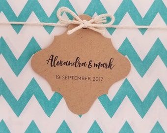 Wedding Gift Tags - Simple name and date tags - Customizable Personalized (WT1713)