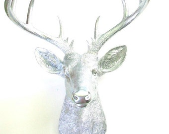 XL Faux Taxidermy Deer Head wall mount home decor in silver stag nursery kids room office decor X-large deer for wall
