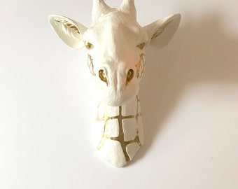 Customize ANY 2 colors Large Faux Taxidermy Giraffe Head // hand painted //safari wall decor // nursery decor // wall art //home office //