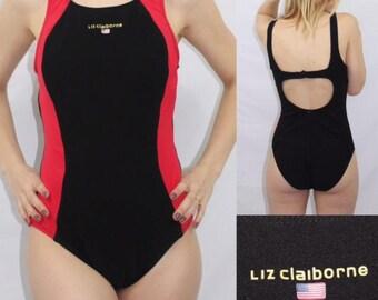 Vintage Liz Claiborne Designer  Red & Black High Neck Sport One Piece Colorblock Swimsuit Women's Size S M Made in USA
