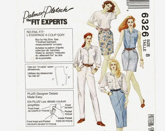 McCalls 6326 Misses Jeans that Fit Sewing Pattern w/ Palmer Pletsch Fitting Instructions Womens Size 8 Waist 24 Complete, Freshly Pressed