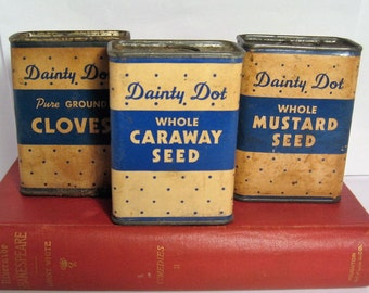 Vintage Dainty Dot Spice Tins - Vintage Dainty Dot Mustard Seeds, Cloves and Caraway Seed Tins, Vintage Dainty Dot Somerville, MA