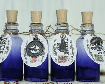 10 Purple Glass Drink Me Favors Alice in Wonderland Drink Me Bottles Drink Me Tags For Alice In Wonderland Party Tea Party Favors