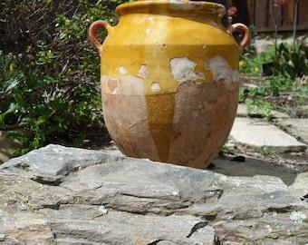 Antique Old French Pottery Ceramic Confit Pot Mustard Yellow Glaze circa 1900