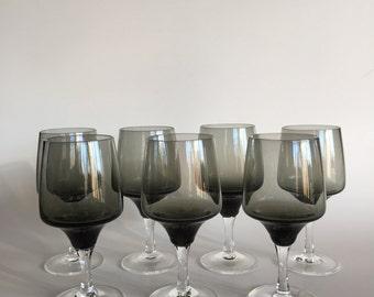Six Vintage 60s Smokey Gray Glasses