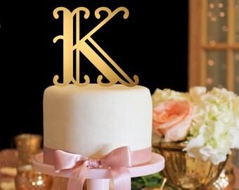 Wedding Cake Topper - Fancy Monogram Cake Topper - Gold Cake Topper