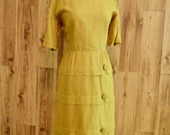 1950s Mustard Dress w/ Tiers, Fifties Chartreuse Sheath with Large Buttons & Fitted Bodice, Mid Century Henry Lee Office Wear
