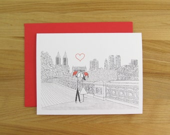 Canoodle Doodle No. 38 - Bow Bridge Central Park - Christmas Version // Birthday Anniversary Engagement or Bridal Shower card for Him or Her