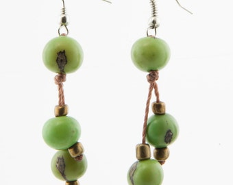 Acai Seed Earrings / Greenery Green Earrings / Acai Seed Jewelry / Acai Earrings / Fair Trade / Seed Jewelry / Seed Earrings