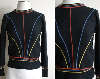 Vintage 80s Primary Color Sweater - White Stag - Womens Sweater - Mens Sweater - Knit Sweater - Geometric Sweater - 80s Sweater - Womens S