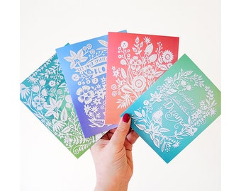 Floral Inspired Greeting Cards - Set of 4 Folded A2 Cards - Papercut Prints
