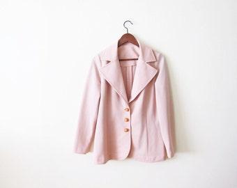 70s Blazer Jacket / Pastel Jacket / 1970s Pink Coat / Vintage Womens Pale Pink Jacket Small Medium