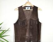 Vintage Chocolate Brown Suede Vest with Fringe / 1970s Leather Boho Vest Unisex Fit