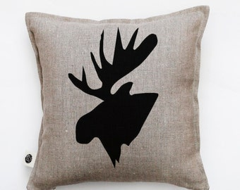 Black moose head pillow cover / hand painted print / custom size / 0413