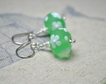Green Lampwork Earrings, Floral Earrings, Green Glass Jewelry, Sterling Silver Drop Earrings, Blown Glass, Spring Jewelry, Gift for Women