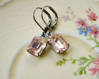 Antique Silver & Peach Earrings, Vintage Glass Cabochon Earrings, Silver Leverback Earrings, Peach Jewelry, Pale Pink Crystal Earrings, Gift