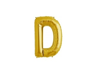 """Letter D - Gold 16"""" Mylar Letter Balloon, Wedding, Bridal Shower, 1st Birthday, Photo Prop, Name Banner, Baby Shower, Baby Name, Party"""