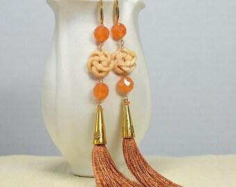 ON SALE Celtic infinity knot earrings Unique long tassel earrings Womens boho brown silk fringe long dangle gypsy earrings Bohemian jewelry