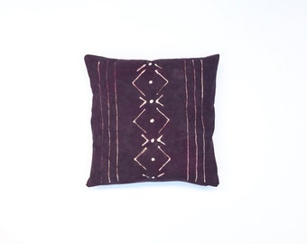 Eggplant Throw Pillow with Tribal Pattern  Purple Boho Pillow Cover Aubergine Decorative Throw Pillow 18 x 18 Cushion