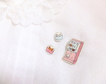 Capsule Machine cross stitch collar pin, gachapon, gifts under 50, gifts for toy collectors, Japanese capsule machine