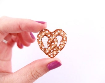Pretzel Cross Stitch Pin, Heart shaped Pretzel, pretzel pin, gifts for her, valentine's day, galentine's day, gifts for foodies