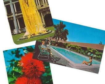 22 vintage chrome Hawaii postcards, King Kamehameha, Nuuanu Tunnel, Sealife