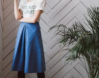 midi skirt, blue midi skirt, circle skirt, High Waist Skirt, Women's Skirt, Flared Skirt, 50s skirt, Knee Length Skirt, ladies skirt