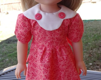 "14.5"" Doll Clothes Coral Dress For Spring Fits American Girl Wellie Wishers and Heart4Heart Dolls"