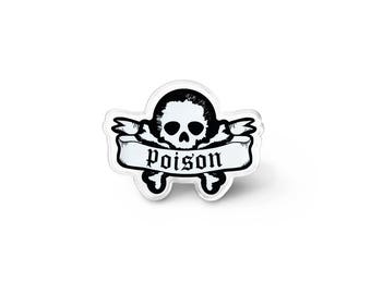 Poison Pin - Goth Accessories, Gothic Jewelry, Psychobilly Skull Lapel Pin, Word Art Rockabilly Brooch