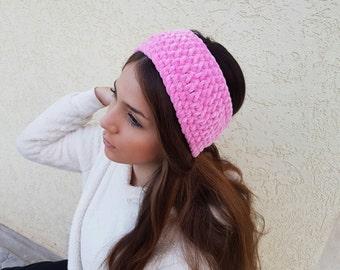 Pink Ear Warmer, Wide pink Headband, Hand Knit Velvet Headband, Knit Headband for Women,  crochet headband, Women's Gift, Free shipping