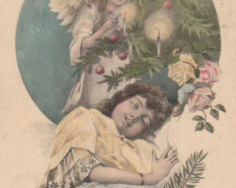 New Year Angel With A Sleeping Child Original Antique Postcard