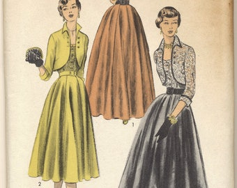 Vintage NOS 1951 Advance Pattern 5650 Ladies Gown and Bolero Bust 36