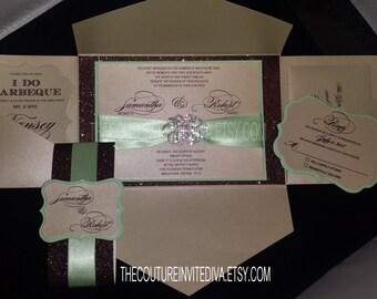 Champagne, Mint and Chocolate Brown Glitter Wedding Invitation | Invitation Deposit Listing