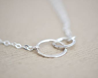 Two Circle Necklace - Double Circle Necklace - Interlocking Circles Necklace - Infinity Necklace - Eternity Necklace - Unity Necklace