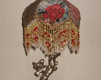 Lamp, Gold and Red Lamp Shade with Base, Vintage Handmade, One of a Kind Design - GOLDEN ROSES